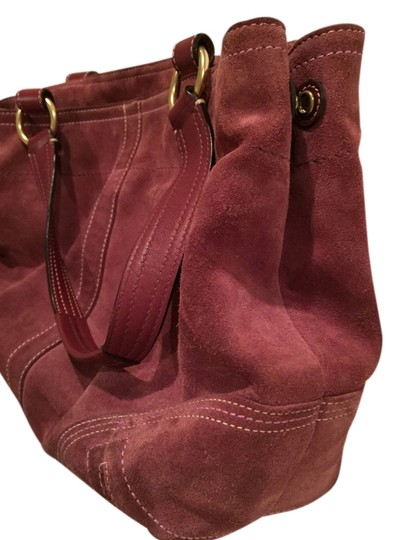 Coach Unstructured Suede Pink Shoulder Bag
