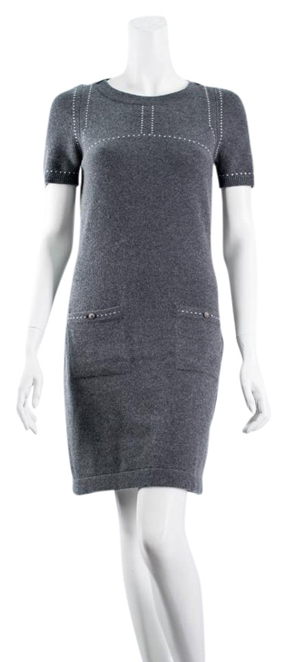 Chanel Grey Classic Cashmere Fr34 Mid Length Casual Maxi Dress Size