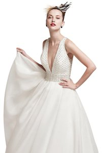 Sottero and Midgley Ivory/Pewter Accent Shavon Organza Tamirys Formal Wedding Dress Size 6 (S)
