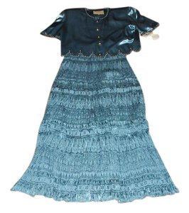 Double D Ranchwear Designer Color Treasured Collectable Maxi Skirt Blue