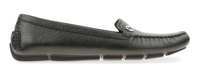 Item - Black Textured Leather Metal Gg Logo Driving Loafers #372390 Flats Size EU 38.5 (Approx. US 8.5) Regular (M, B)