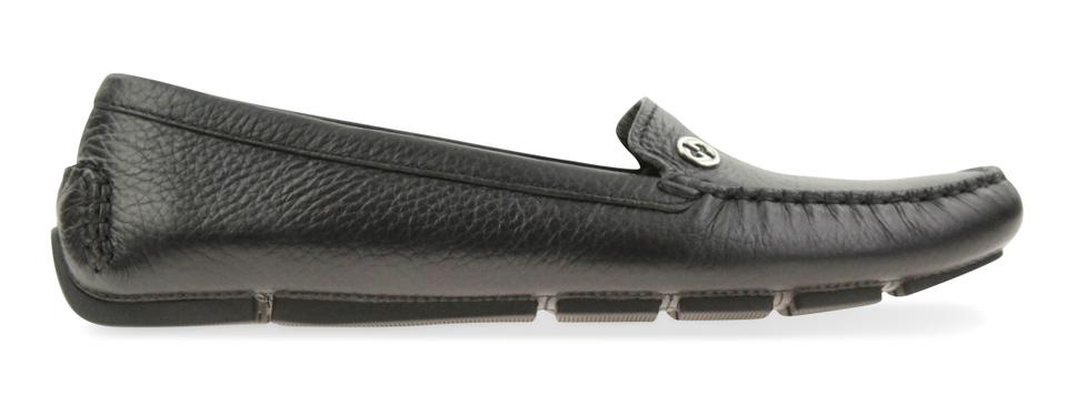 9b2ed5d7a65 Gucci Black Textured Leather Metal Gg Logo Driving Loafers  372390 Flats