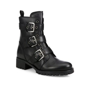 Prada Triple Buckle Strap Black Boots