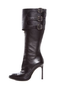 Manolo Blahnik 3/4 Length Zipped Front Edgy Buckled This Season Black Boots