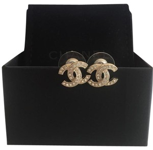 Chanel NEW CC logo earrings with crystals gold tone