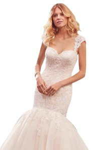 Maggie Sottero Ivory Over Light Gold Lace and Beads Keely Formal Wedding Dress Size 12 (L)