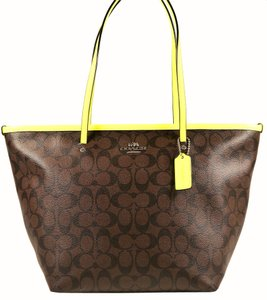 90ef06afa59a Coach Tote in Brown and Neon Yellow