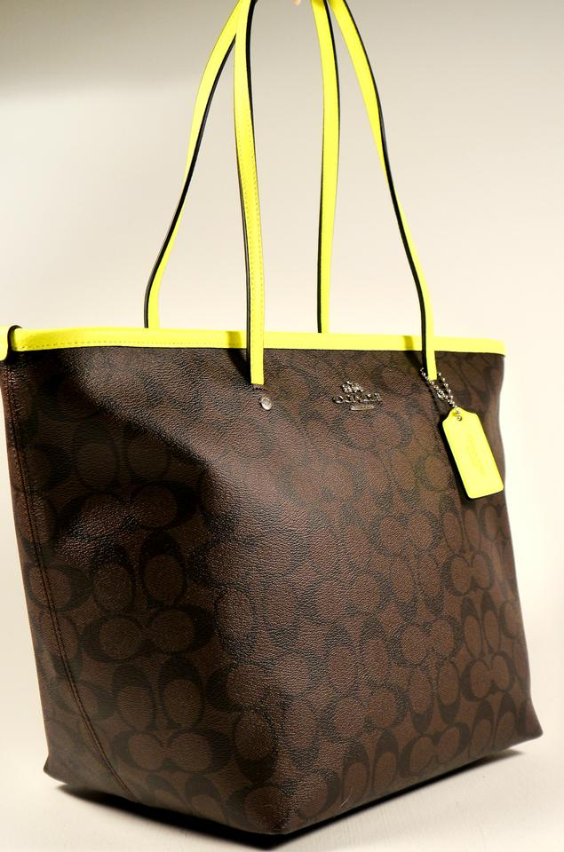 7a13f9af3d1c Coach Taxi Signature Zip Purse F34703  Msrp Brown and Neon Yellow Coated  Canvas Leather Trim Tote - Tradesy