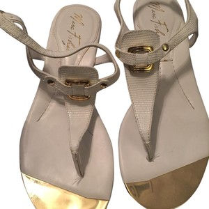 Marc Fisher white and Gold Sandals