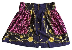 Forever 21 Cute Cheetah Skirt blue and pink patterned