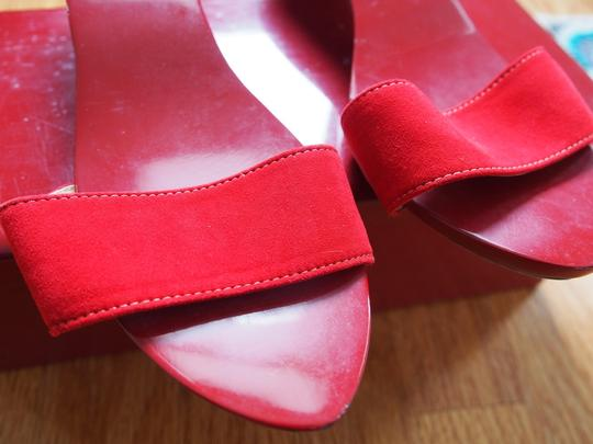 Hermès Collector Lacquer Suede Sandal Red Mules