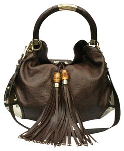 Gucci Leather Bamboo Tassels Ladies Canvas Satchel in Brown