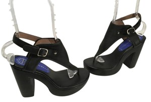 Jeffrey Campbell V Covering Chunky Heels Black leather thong with ankle straps open toe Platforms