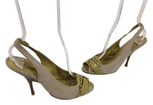 Saint Laurent Tan fabric with green embossed strap gold buckle slingback peep toe Italian E38 Pumps
