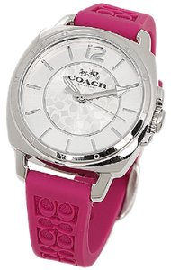 Coach Women's Boyfriend Fuchsia Logo-Embossed Rubber Strap Watch 34MM