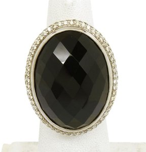 David Yurman Sterling Silver 46ctw Diamond & Faceted Smokey Topaz Cable Ring