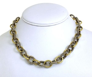 David Yurman 18k Yellow Gold & Sterling Silver Cable Style Chain Link Necklace