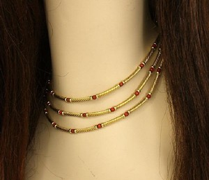 David Yurman 14k Yellow Gold & Coral Bead Triple Cable Strand Choker Necklace