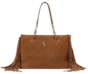 Saint Laurent Ysl Shopping Fringe Monogram Tote in Light Brown Tan