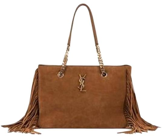 d943899933f Saint Laurent Ysl Monogram Suede Fringe Tassel Chain Shopping Light Brown  Tan Leather Tote - Tradesy