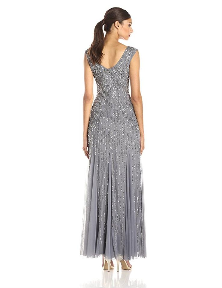 Adrianna Papell Sterling Silver Cap Sleeve Beaded Mermaid Gown Long ...