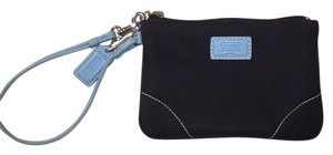 Coach Wristlet in black and baby blue