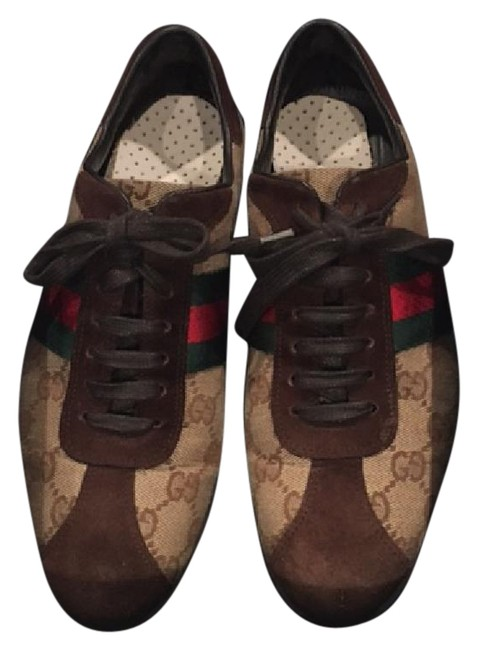 Item - Beige/Brown/Cocoa Canvas Suede Gg ssima Icon Lace Up Web Style#117711 Sneakers Size US 6 Regular (M, B)