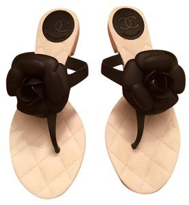 Chanel Rubber Quilted Camellia Cc Black Sandals