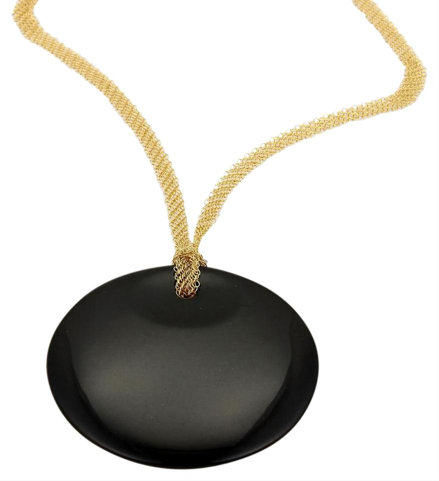 Tiffany co 18820 peretti round black jade 18k gold mesh necklace 18820 tiffany peretti round black jade 18k gold mesh necklace mozeypictures