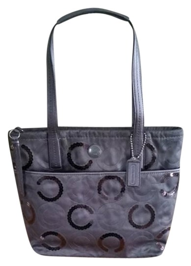 Coach Hangtag Pockets Handles Leather Tote in grays