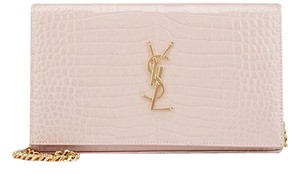 Saint Laurent Woc Wallet Ysl Croc Rose Shoulder Bag
