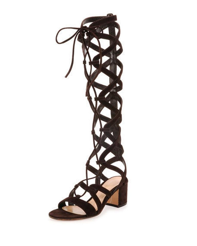 8049cfee216d3 Gianvito Rossi Brown Knee-high Cutout Gladiator Sandals Size US 10.5 ...