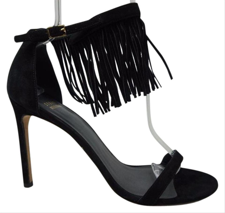 Stuart Weitzman Fringe Black Suede Fired Up Fringe Weitzman Sandals fb934d