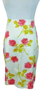 Ann Taylor Skirt White with pink flowers