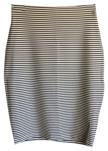 The Fifth Label Bodycon Striped Pencil Skirt Black and white
