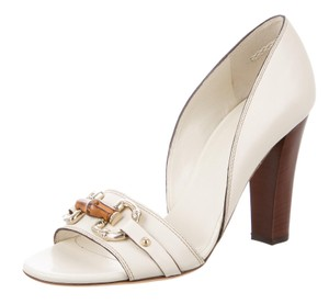 Gucci Gold Hardware Peep Toe Horsebit Embellished White, Gold Pumps
