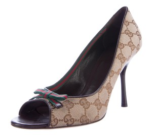 Gucci Gg Peep Toe Web Monogram Beige, Brown Pumps