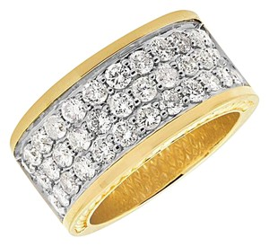 Other Mens 3 Row Genuine Diamond Wedding Engagement Ring Band 3.5ct