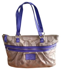 Coach Glam Pockets Sateen Tote in khaki/lpurples