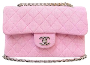 Chanel Vintage Double Flap Canvas Shoulder Bag