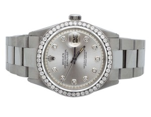 Rolex Mens Stainless Steel Rolex 36 MM Silver Dial Diamond Watch 2.5Ct