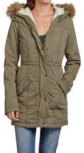 Hollister Shearling Parka Anorak Hooded Utility Coat