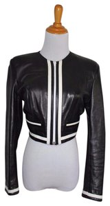 Cache Soft Sporty France Cropped Black white Leather Jacket