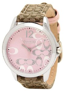 Coach Coach Boyfriend 14501621 Signature Fabric Leather Pink Glitz Watch