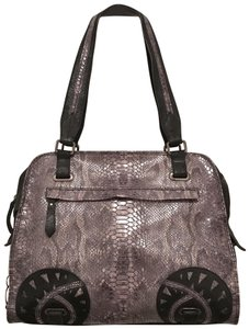 Barbara Milano Handbag Purse Shoulder New Snakeskin Satchel in Black Gray
