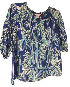 Lilly Pulitzer Tropical Silk Roll-up Sleeves Gold Buttons Top Blues, White, Green, Aqua