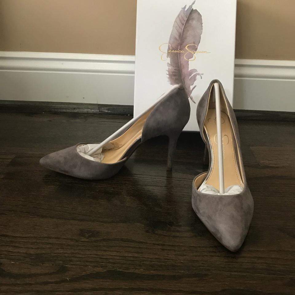 7fafa29dcd0 Jessica Simpson Livvy Gray Suede D orsay Pumps Size US 7.5 Regular ...