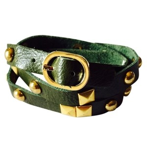 Nakamol NEW! Rocker Studs Leather Wrap Cuff (Olive)