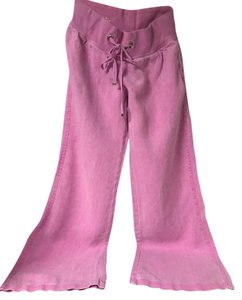 Lilly Pulitzer Linen Chic Comfortable Casual Wide Leg Pants Hot Pink