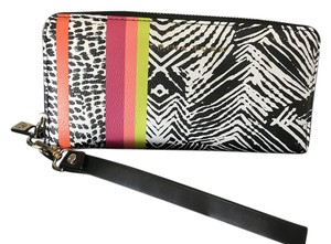 Trina Turk Wallet Iphone Zip Around Wristlet in Multi, Black & White, Animal like print, Color Accent Stripes